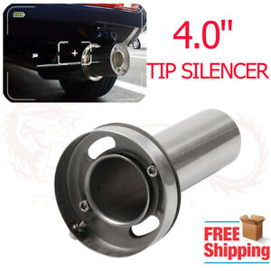 4 Adjustable Round Tip Silencer Exhaust Muffler Polished Removable Universal