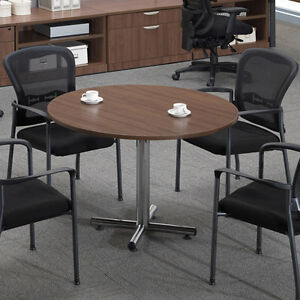 Modern Round Conference Table Chairs Set Meeting Room Boardroom Office Wooden