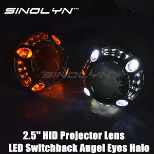 Led Angel Eyes Halo Mini 2 5 Hid Projector Lens H1 Switchback Drl Turn Signals