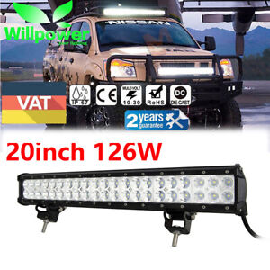 126w 20 Inch Led Work Light Bar Flood Spot Combo Offroad 4wd Suv Driving Lamp