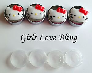 Hello Kitty Red Bow License Plate Frame Screw Covers Chrome Caps