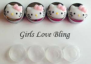 Hello Kitty Pink Bow License Plate Frame Screw Covers Chrome Caps