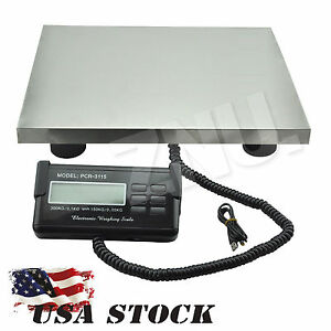 Lcd Ac Digital Floor Bench Scale Postal Platform Shipping Weigh 660lbs Adaptor
