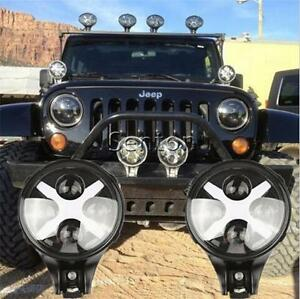 2x Cree 60w Led Work Light Round White Fog Light For Jeep Wrangler Offroad 4x4