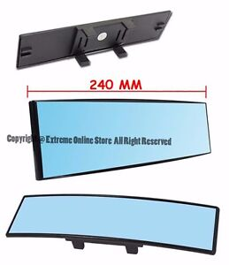 Clip On Style Convex Curve Blue Tint Interior Universal 240mm Rear View Mirror
