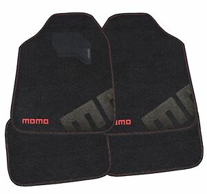 Momo Italy Car Mats Carpet Black Red 007