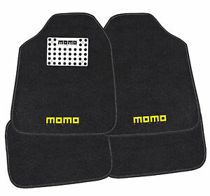 Momo Italy Car Mats Carpet With Aluminum Heel Black Gray 016