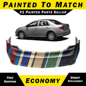 New Painted To Match Rear Bumper Cover For 2009 2010 Toyota Corolla Sedan
