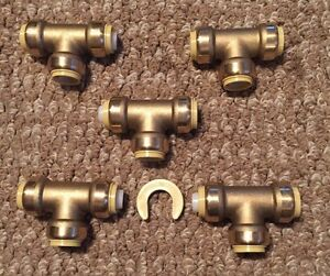 New 5 Piece 3 4 Sharkbite Style Push On Tees Pex Copper Pipe Repair Fittings