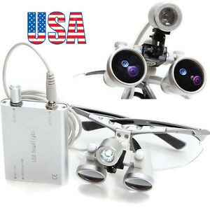 Silver Dental Surgical Loupes 3 5x 420mm Optical Glass With Led Head Light Lamp