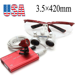 Usa Red Dental Loupes 3 5x 420mm Surgical Medical With Led Head Light Lamp Set