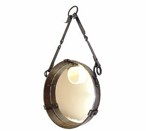 Wall Hanging Mirror Round Wrought Iron Dlg Adnet Mid Century Giacometti Royere