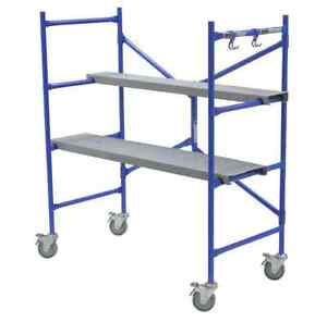 Portable Steel Heavy Duty Rolling Scaffold 500 Lb Load Painting Work Bench Shelf