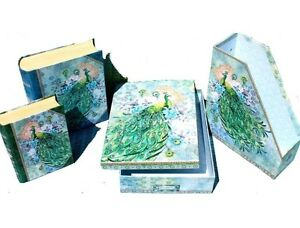 Punch Studio 4 pc Set Desk Organizer Accessories Blue Rose Watercolor Peacock