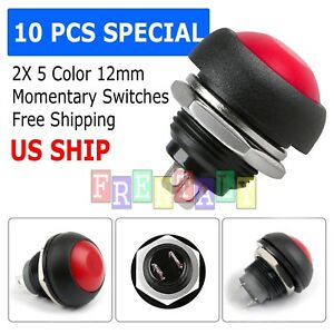 Red 10x Pcs M4 12mm Waterproof Momentary On off Push Button Round Spst Switch