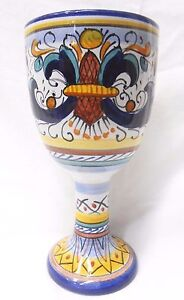 Deruta Pottery Wine Goblet Ricco Deruta Made Painted by hand Italy*NEW ITEM*