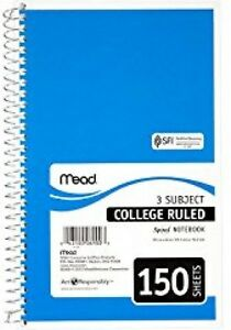 12 Mead Spiral Notebooks 3 subject College Ruled Color Will Vary Students
