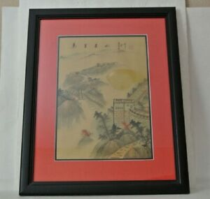 Signed Antique Chinese Silk Painting Landscape Great Wall Of China Art Ink Color