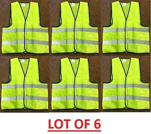 Lot 2 6 24 45 Reflective Safety Vest Yellow Strip School Construction Traffic