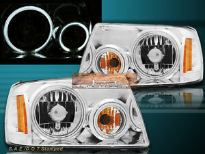 01 11 Ford Ranger Xl Xlt Crystal Headlights Chrome Housing W Dual Ccfl Halo Rims