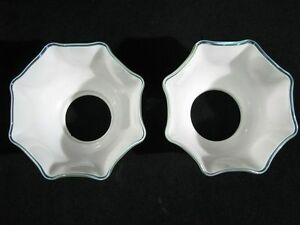 Pair Hand Blown Opaque White Gas Light Shades With Teal Border 3 3 8 X 8