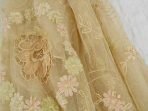 Vintage Antique 1880 French Tambour Embroidered Net Lace Bedspread Full Coverlet
