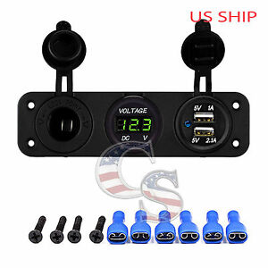 P3 Green Waterproof Voltmeter 12 24v Dual Usb 3 1a Charger Motorcycle Boat Car