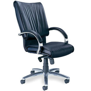 Executive Conference Chair Office Meeting Room Black Leather Chrome Base