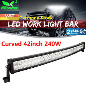 42inch 240w Curved Led Light Bar Combo For Driving Offroad Jeep Truck 4wd Ute