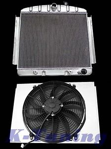 Stamped Aluminum Radiator Combo W Shroud W 16 Fan 1955 56 Chevy Bel Air 3 8l L6