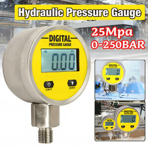 Digital Hydraulic Pressure Gauge 0 250bar 3600psi Npt1 4 Base Entry New