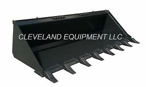 New 72 Tooth Bucket Low Profile Skid Steer Loader Attachment Teeth Mustang Case