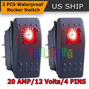 2x Red S2 4pin Waterproof 12v 20a Bar Rocker Toggle Switch Led Light Car Boat
