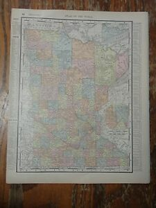 Nice Colored Map Of Minnesota Or Wisconsin 1907 Universal Atlas Of The World
