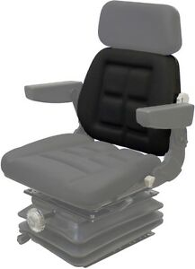 Black Vinyl Backrest Cushion For Pilot Seat 3 Twist Clips On Top Fast Shipping