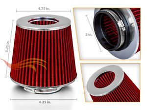 3 Short Ram Cold Air Intake Filter Round Cone Universal Red For Honda 1