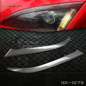 Real Carbon Fiber Eyebrows Eyelids Headlight Cover Trim For Ford Focus 2005 2008