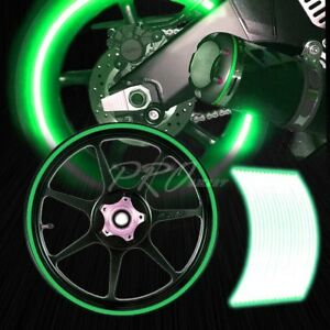16 17 18 19 Reflective Rims Tape Wheel Rim Decal Stripes Sticker Glowing Green