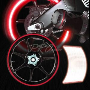 16 17 18 19 Reflective Rims Tape Wheel Rim Decal Stripes Sticker Glowing Red