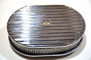 12 Polished Aluminum Nostalgia Full Finned Oval Air Cleaner Street Rod Filter