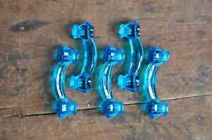 Vintage Clear Blue Glass Bridge Drawer Pulls Set Of 5 E2159