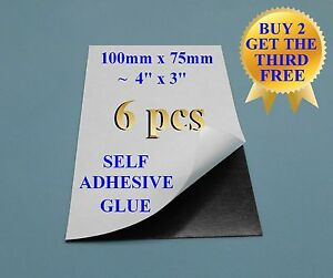 6 1 Self Adhesive Flexible Refrigerator Magnet Sheets 10x7 5cm 4x3 Peel Stick