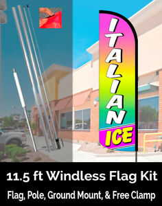 Italian Ice Windless Polyknit Feather Banner Flag Kit flag Pole