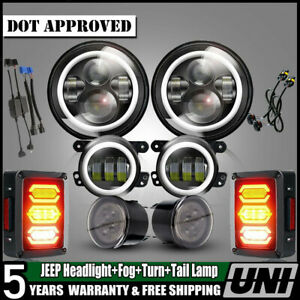 7 L h Beam Headlight Lamp Signal Turn Lights 4 Fog Lamps For Jeep Wrangler Jk