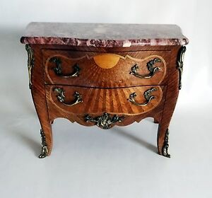 French Antique Small Scaled Marquetry Boulle Style Commode 1820 S