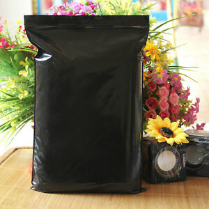 Plastic Resealable Storage Bags Zip Lock Self Seal Food Packaging Pouches Black