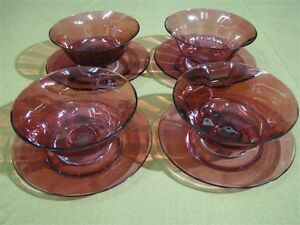 Set Of 4 Cranberry Glass Bowls Underplates Post 1940 S Antique