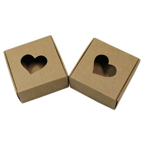 Kraft Paper Heart Hollow Jewelry Candy Boxes Gifts Handmade Soap Packaging Boxes