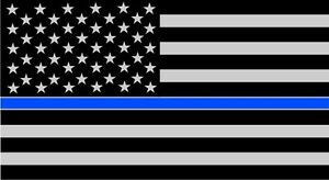 Two 3 X5 Fallen Officer Thin Blue Line American Flag Reflective Decal Sticker