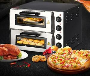New 220v 16 Double Electric Pizza Oven Commercial Ceramic Stone T